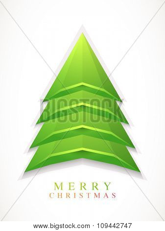 Merry Christmas celebration Flyer, Banner or Pamphlet with creative glossy green Xmas Tree.