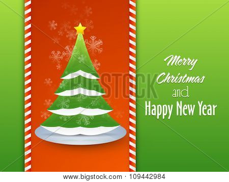 Elegant greeting card design with creative Xmas Tree on Snowflakes decorated background for Merry Christmas and Happy New Year celebrations.