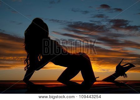 Silhouette Of A Woman On Hands And Knees Heel Up