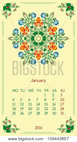 Calendar 2016. Template for month January