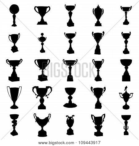 Sports Trophies Silhouettes Set