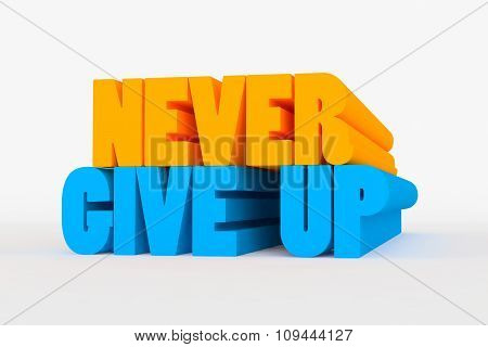 Big 3D Bold Text - Never Give Up