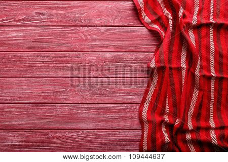 Napkin On Red Wooden Table, Close Up