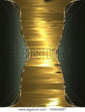 Golden Plate For Text On Grunge Background. Element For Design. Template For Design. Copy Space For