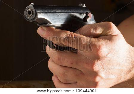 Man Hands With A Gun