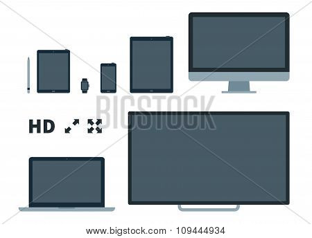 Screens flat vector illustration