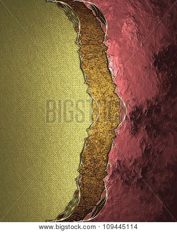 Grunge Gold Background With Pink Decoration. Element For Design. Template For Design. Copy Space For