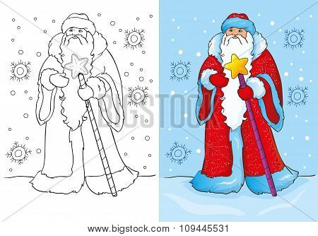 Coloring Book Of Santa Claus Or Father Frost