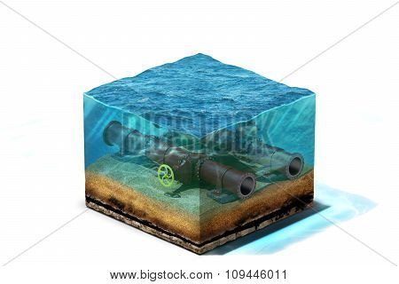 3d Illustration of oil pipeline with valve is lying on section of ocean bottom