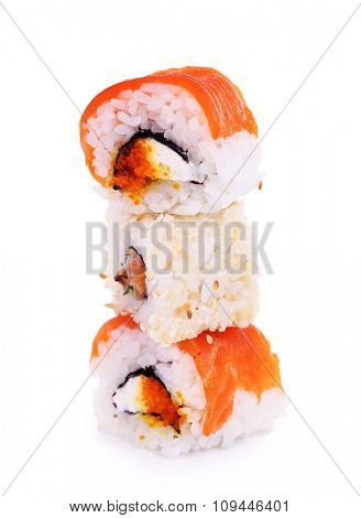 A bunch of tasty rolls isolated in white