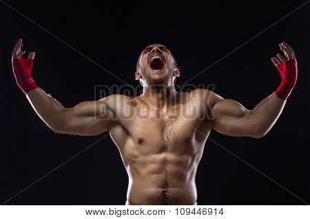Mma Fighter On Black Background