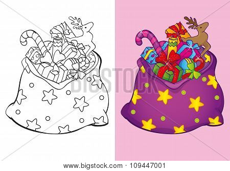 Coloring Book Of Christmas Bag With Toys