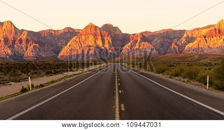 Two Lane Highway Leads To Red Rock Canyon Las Vegas Usa