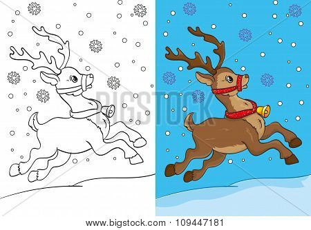 Coloring Book Of Christmas Deer Running On Snow