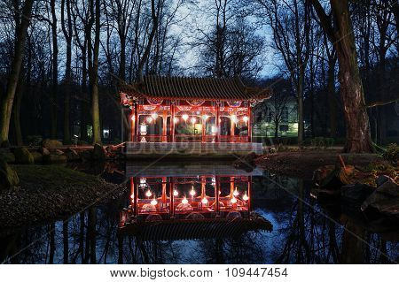 Traditional Chinese Pavilions In Lazienki Park