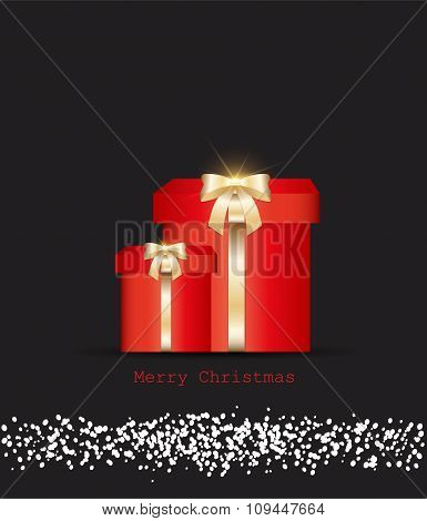 vector gift box with snow