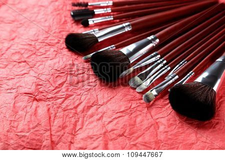 Makeup Brushes Set On A Red Background