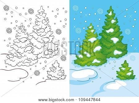 Coloring Book Of Three Trees In The Snow