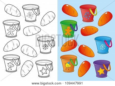 Coloring Book Of Carrots And Buckets