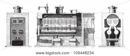 Boiler for semi-tubular boilers, vintage engraved illustration. Industrial encyclopedia E.-O. Lami - 1875.