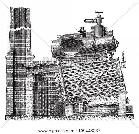 From multi-tubular boiler Naeyer, Longitudinal section, vintage engraved illustration. Industrial encyclopedia E.-O. Lami - 1875.