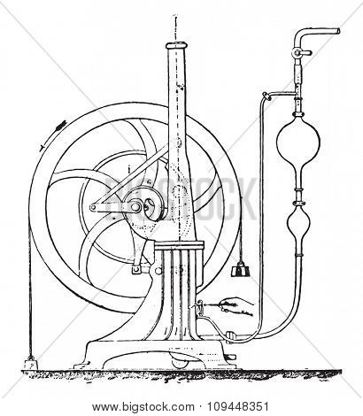 Diagram showing the details of the mechanism and the accessories of Bisschop engine installation, vintage engraved illustration. Industrial encyclopedia E.-O. Lami - 1875.