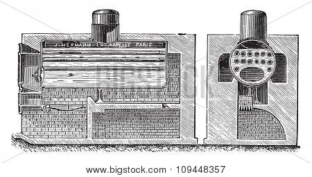 Semi tubular combination boiler, vintage engraved illustration. Industrial encyclopedia E.-O. Lami - 1875.