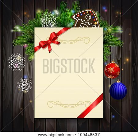 Christmas background on wood