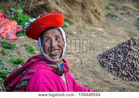 Quechua Woman Smiling In A Village In The Andes, Ollantaytambo, Peru