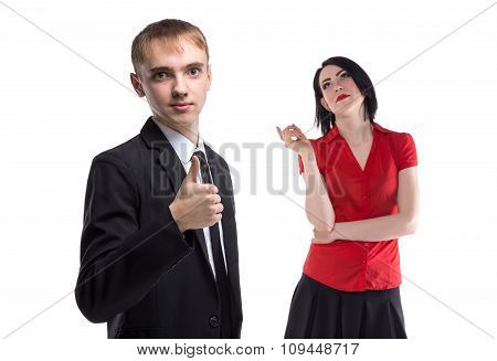 Woman and man with thumb up