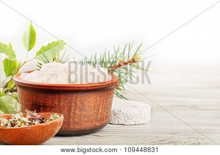 Aromatic Bath Salt And Dried Herbs