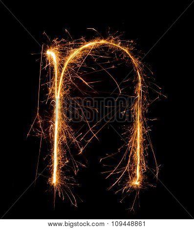 Sparkler Firework Light Alphabet N (small Letters) At Night