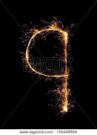 Sparkler Firework Light Alphabet Q (small Letters) At Night