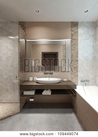 Modern Console With Sink, In The Bathroom.