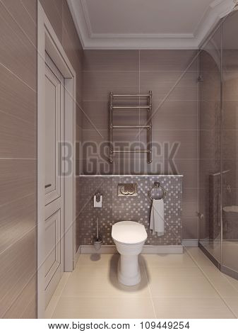 Toilet Room In The Art Deco Style.