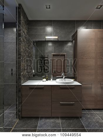 Cupboard With Wash Basin In The Bathroom In The Style Contemporary.