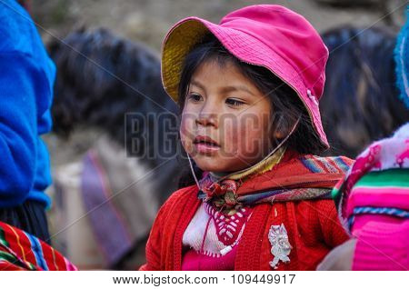 Quechua Girl In A Village In The Andes, Ollantaytambo, Peru