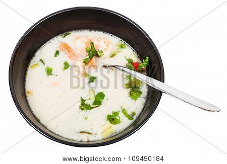 Above View Of Sour And Spicy Soup Tom Yam In Bowl