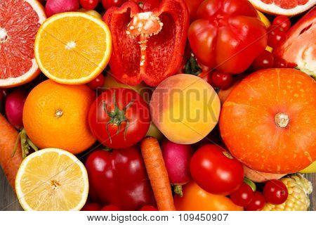 Fruits and vegetables closeup