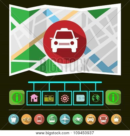 Taxi Car Gps Navigation Map