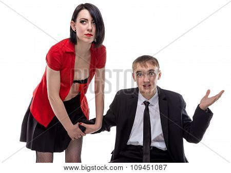 Woman and man sitting with his hand under skirt