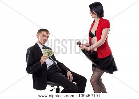 Woman showing her underwear to man with money