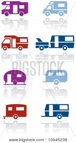 Caravana o autocaravana van símbolo vector ilustración conjunto.