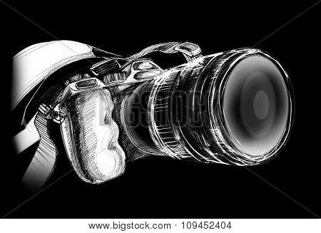 Camera On Black Background