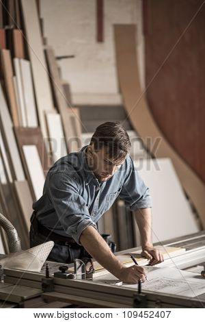 Skilled Carpenter Working With Precision