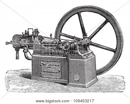 Lenoir engine, new type, vintage engraved illustration. Industrial encyclopedia E.-O. Lami - 1875.