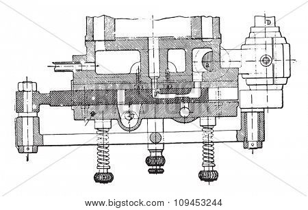 Horizontal section of the Otto engine drawer, vintage engraved illustration. Industrial encyclopedia E.-O. Lami - 1875.