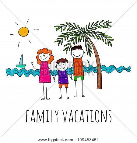 Vector illustration of family vacation