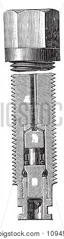 Crushing device, said crusher, vintage engraved illustration. Industrial encyclopedia E.-O. Lami - 1875.