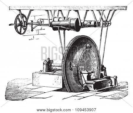 Straightening Machine wheels with diamonds, vintage engraved illustration. Industrial encyclopedia E.-O. Lami - 1875.